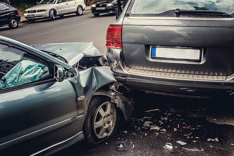 two cars in a car accident